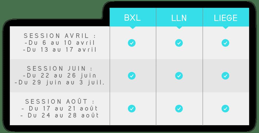 Dates des préparation aux examens d'entrée en médecine et dentisterie 2020   Bruxelles, Liège et Louvain-la-Neuve